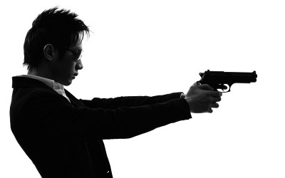asian gunman killer  portrait shooting silhouette